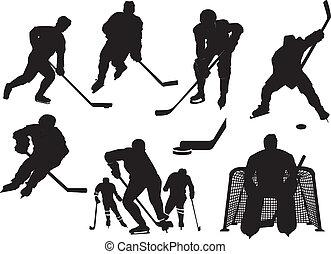 silhouetten, hockey, eis