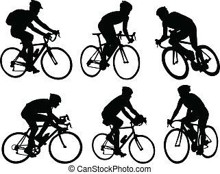 silhouetten, radfahrer