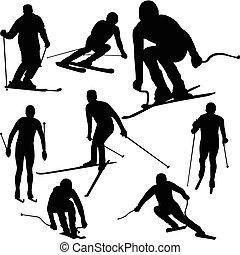 silhouetten, skier