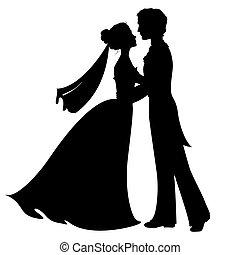 Silhouetten von Braut und Bräutigam.