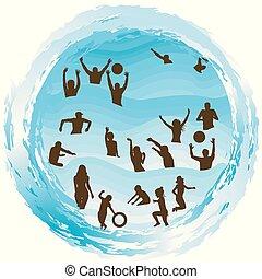 Silhouetten von Menschen, die Spaß im Wasser im Sommer Urlaub.