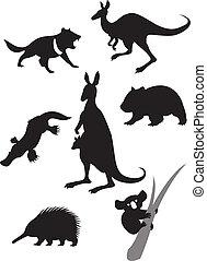 Silhouettes australischer Tiere