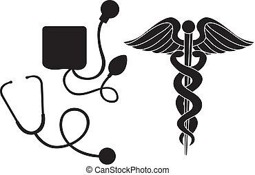 Silhouettes medizinisches Zeichen.
