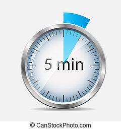 Silver Uhrenbezeichnung 5 Minuten. Vector Illustration