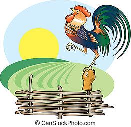 Singender Hahn und Morgensonne.