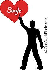Single Heart Man Illustration