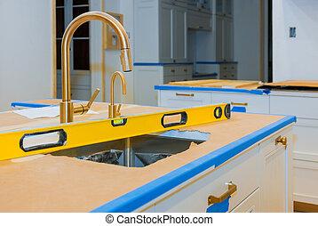 sinken, countertops, kabinett, nivellieren, verbesserung, kueche , daheim