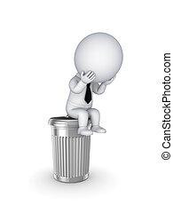 sitzen, trashcan., person, 3d, klein