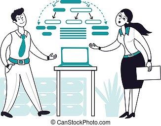 sitzung leute, frau, arbeitende , begriff, oder, diagramm, vektor, buero, geschäftsmann, geschaeftswelt, work., geschenke, laptop, zusammen, multitasking