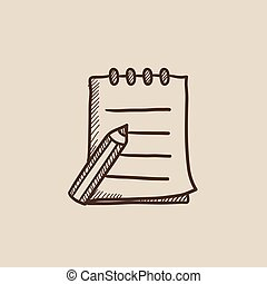 skizze- auflage, stift, icon., schreibende