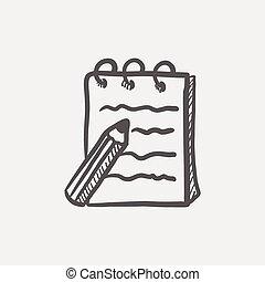 skizze, ikone, polster, stift, schreibende