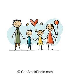 skizze, zusammen, glücklich, dein, design, familie
