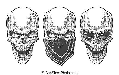 Skull lächeln mit Bandana und Brille für Motorrad. Schwarze Vektorgrafik. Für Poster und Tätowier-Bike-Club. Hand gezeichnetes Design Element isoliert auf weißem Hintergrund.