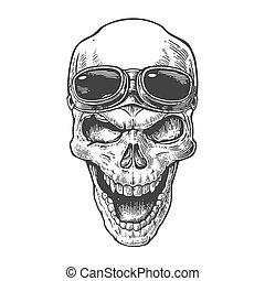 Skull lächelt mit Brille für Motorrad auf der Stirn. Schwarze Vektorgrafik. Für Poster und Tätowier-Bike-Club. Hand gezeichnetes Design Element isoliert auf weißem Hintergrund.
