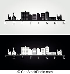 skyline, maine, silhouette, portland, wahrzeichen