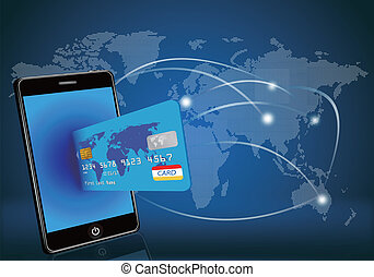 Smartes Telefon mit Kreditkarte auf Glee