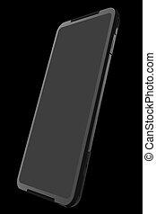 smartphone, ansicht, beweglich, schwarz, gaming, leerer , schirm, begriff, front
