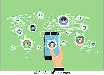 smartphone, landkarte, leute, anschluss, abbildung, sozial, vernetzung, medien, concept.