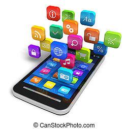 Smartphone mit einer Wolke von Bewerbungs-Ikonen