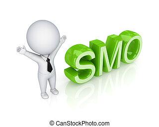 smo., person, 3d, wort, klein
