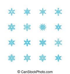 Snowflakes-Vektor-Icon gesetzt.