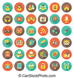 Social Networking Flat Round Icons.