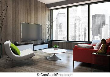 sofa, modern, übertragung, inneneinrichtung, rotes , 3d