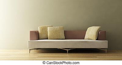 sofa, modern, 3d