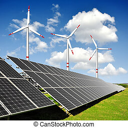 Solarenergieplatten, Windturbinen