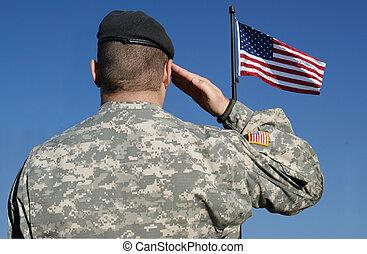 soldat, fahne, salutes