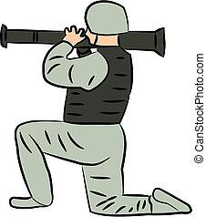Soldat mit Raketenwerfer