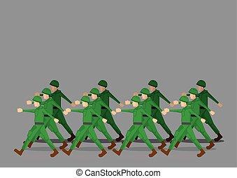 Soldaten marschieren in Militärparade