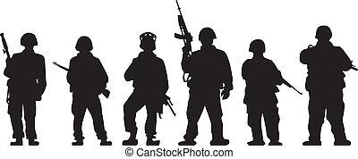 Soldatliche Silhouette