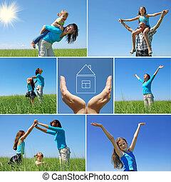 sommer, draußen, familie, collage, -, glücklich