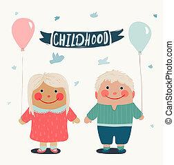 sommer, friends, kinder, baloons