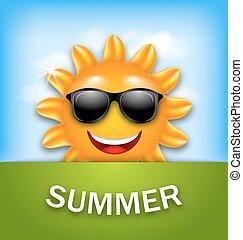 sommer, kühl, sonnenbrille, glücklich, sonne