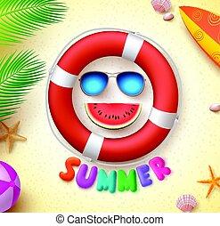 Sommer lustiges Vektorkonzept mit 3d Text und Sommerelementen