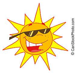 Sommersonne mit Sonnenbrille