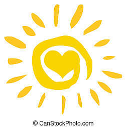Sonne mit Herz abbrechen