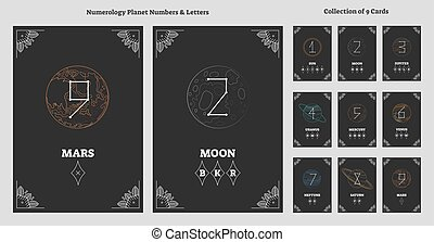 Sonnensystemplaneten und astrologische Zahlen mit Buchstabendiagramm. Alte, esoterisches Universum numerische Wissenschafts-Vektorgrafik Illustration.