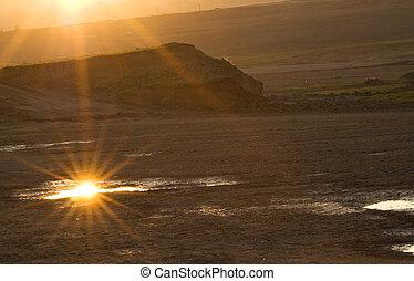 Sonnenuntergang über den Ödlanden