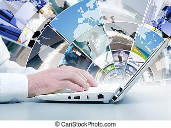 sozial, medien, bilder, computertastatur