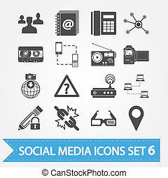 sozial, medien, heiligenbilder, satz, 6