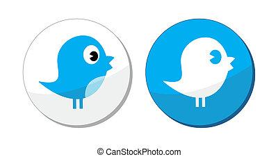 Soziale Medien, blauer Vogelvektor