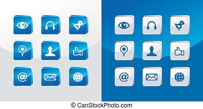 Soziale Medien-Ikonen aufgestellt