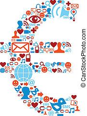 Soziale Medien-Ikonen, die in Eurosymbol eingeführt werden