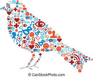 Soziale Medien-Ikonen in Vogelzusammensetzung