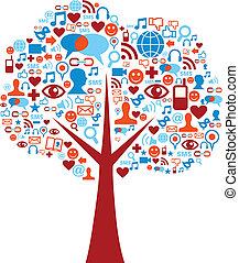 Soziale Medien-Ikonen setzen Baumkomposition ein
