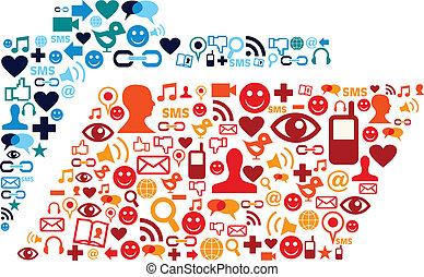 Soziale Medien-Ikonen stellen Ordnerzusammensetzung fest