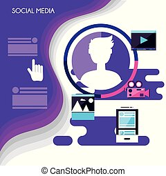 Soziale Medien setzen Symbole.